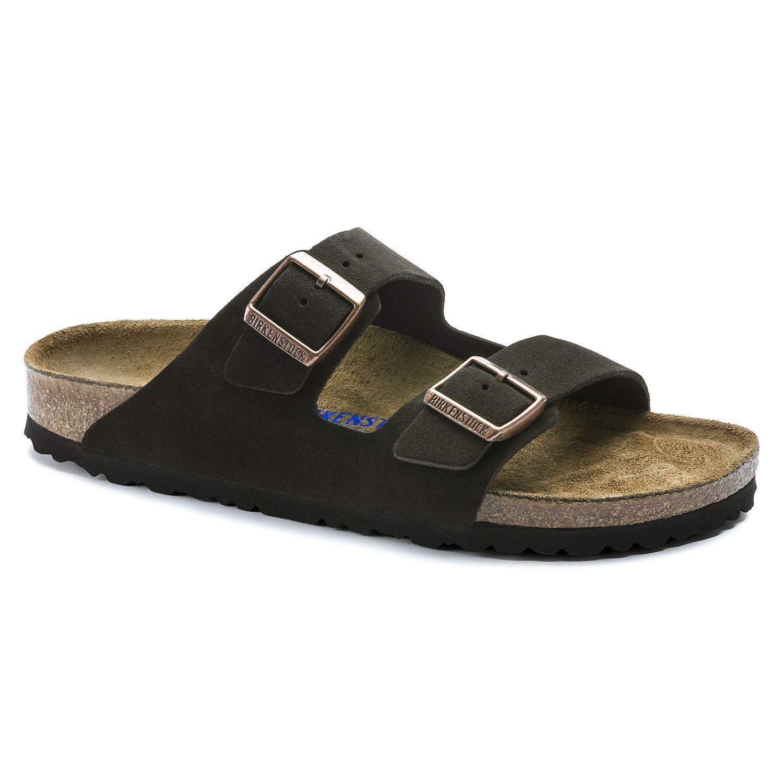 Birkenstock Sandália Arizona Suede Soft Footbed Narrow Marrom EN