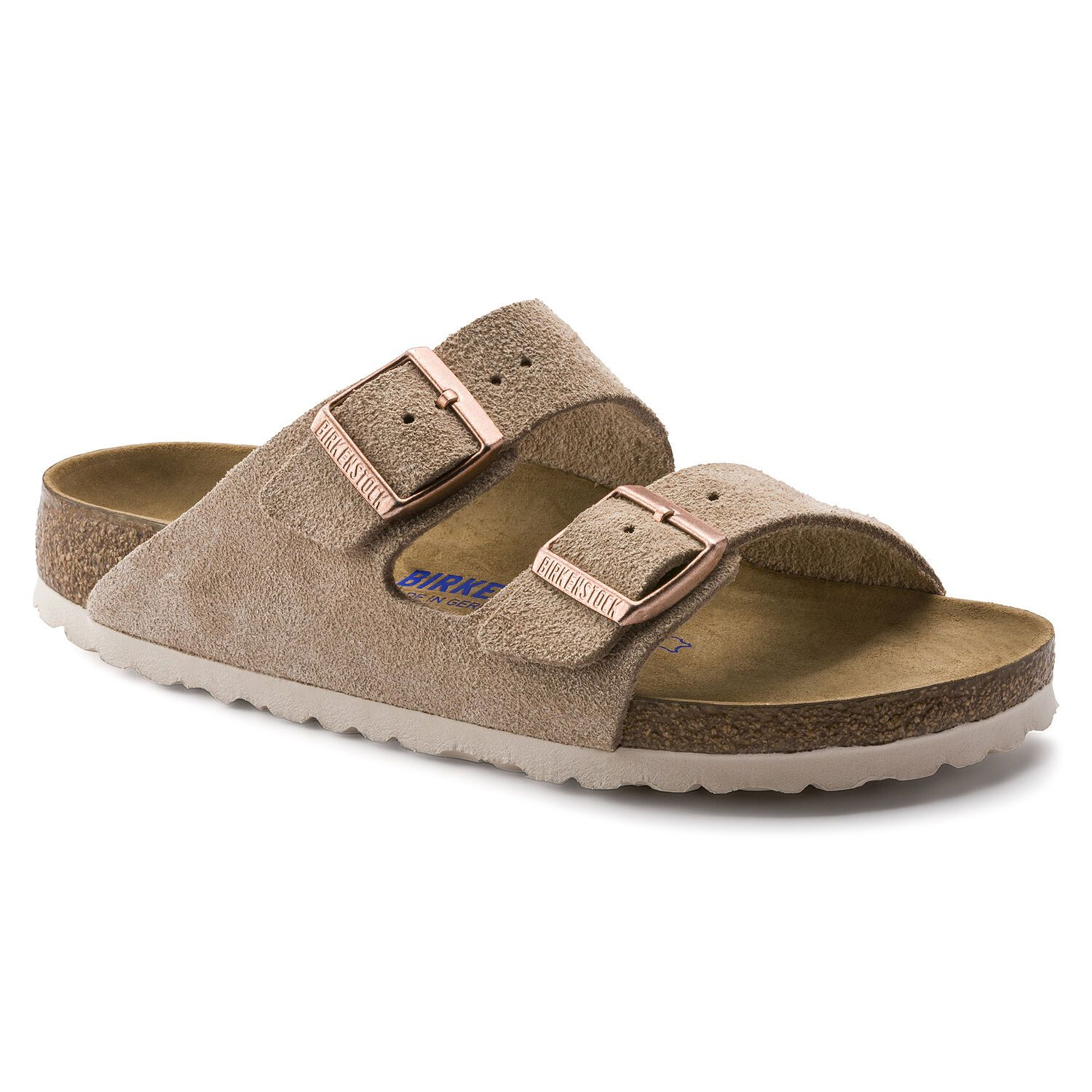 Birkenstock Sandália Arizona Suede Soft Footbed Narrow Nude
