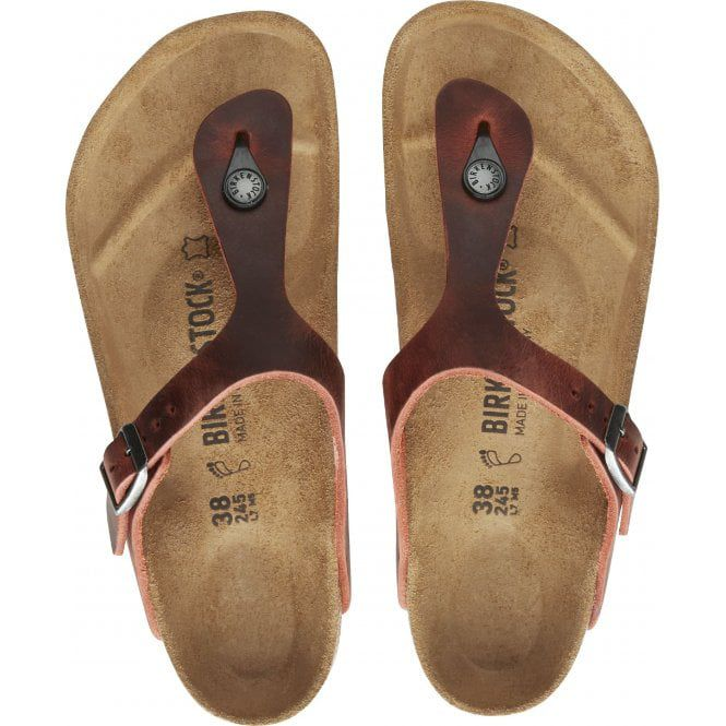 Birkenstock Sandália Gizeh Leoi Earth Red Regular