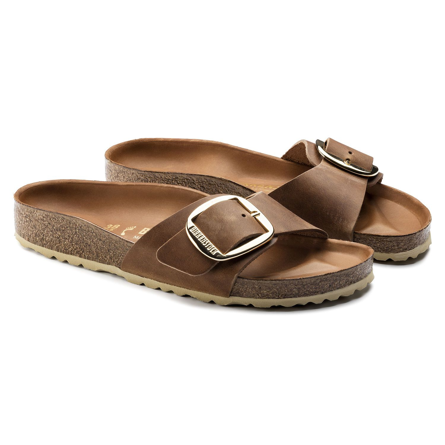 Birkenstock Sandália Madrid Couro Natural Narrow Big Buckle Marrom