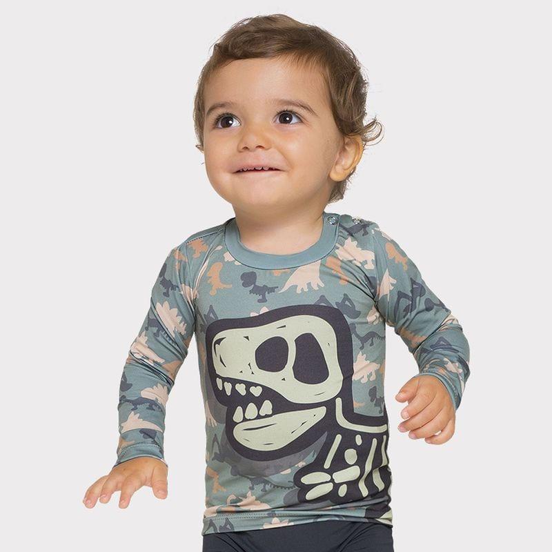 UV LINE FALTA MEDIDAS Camiseta Baby Dino Manga Longa Verde Proteção Solar