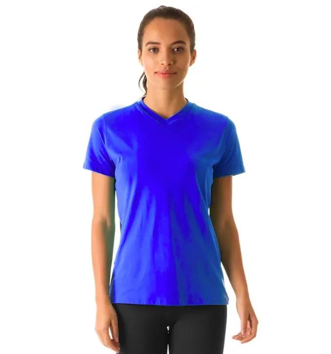 UV LINE Camiseta Sport Fit Manga Curta Feminino Azul Bic Proteção Solar