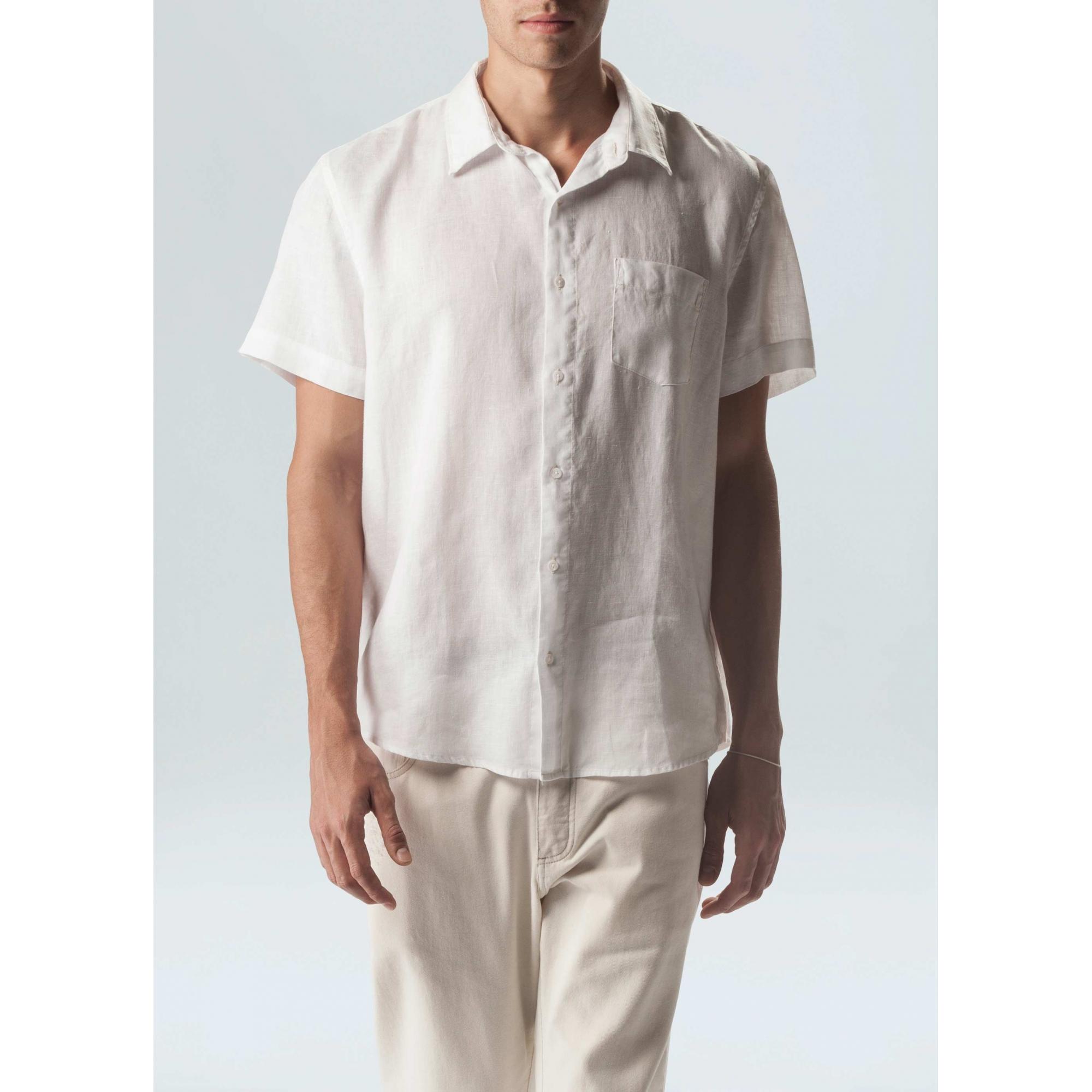 Osklen Camisa Classic Linen Manga Curta Masculino Branco