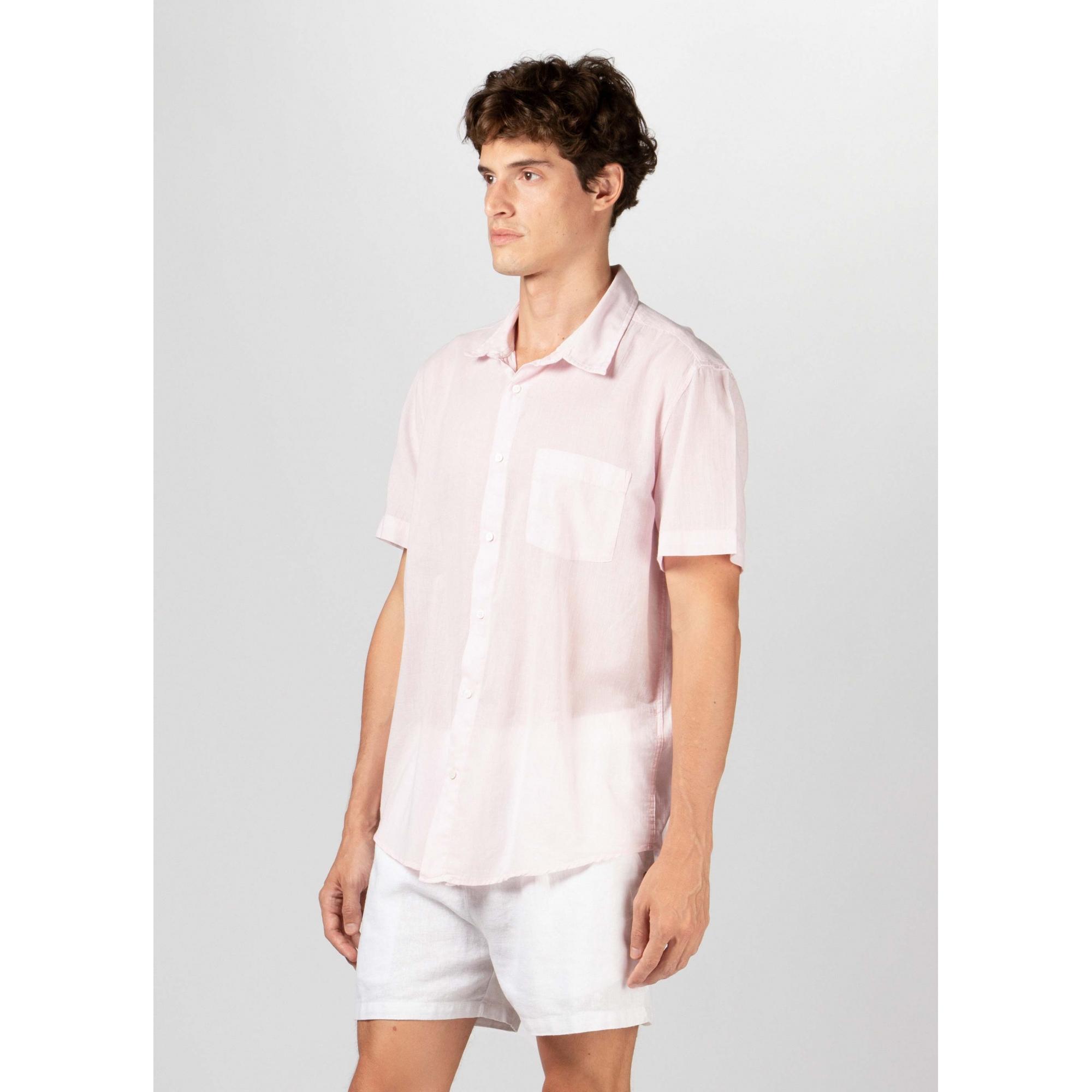 Osklen Camisa Organic e-Colors Manga Curta Masculino Rosa Claro
