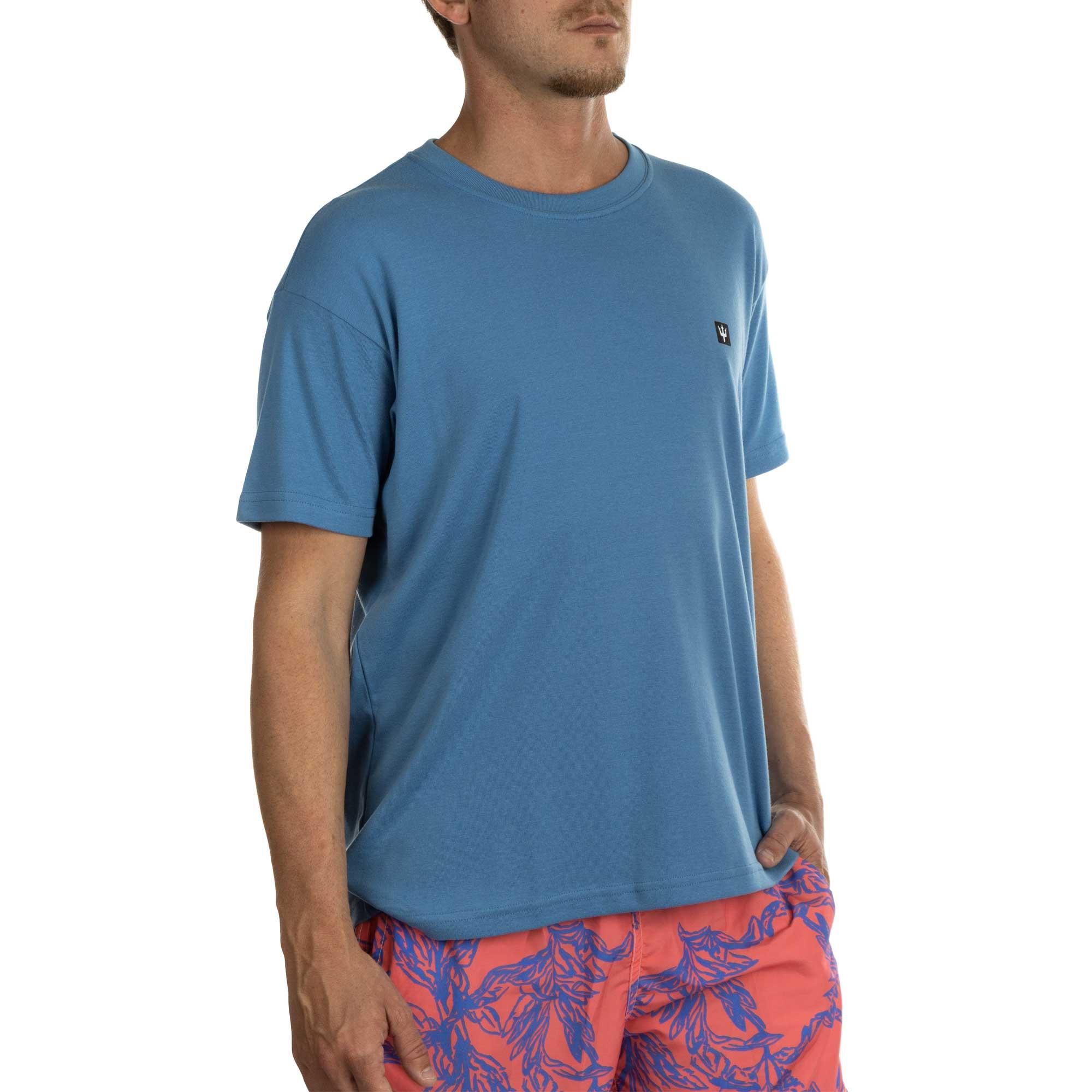 Osklen Camiseta Big Shirt Micro Tridente Masculino Azul Atântico