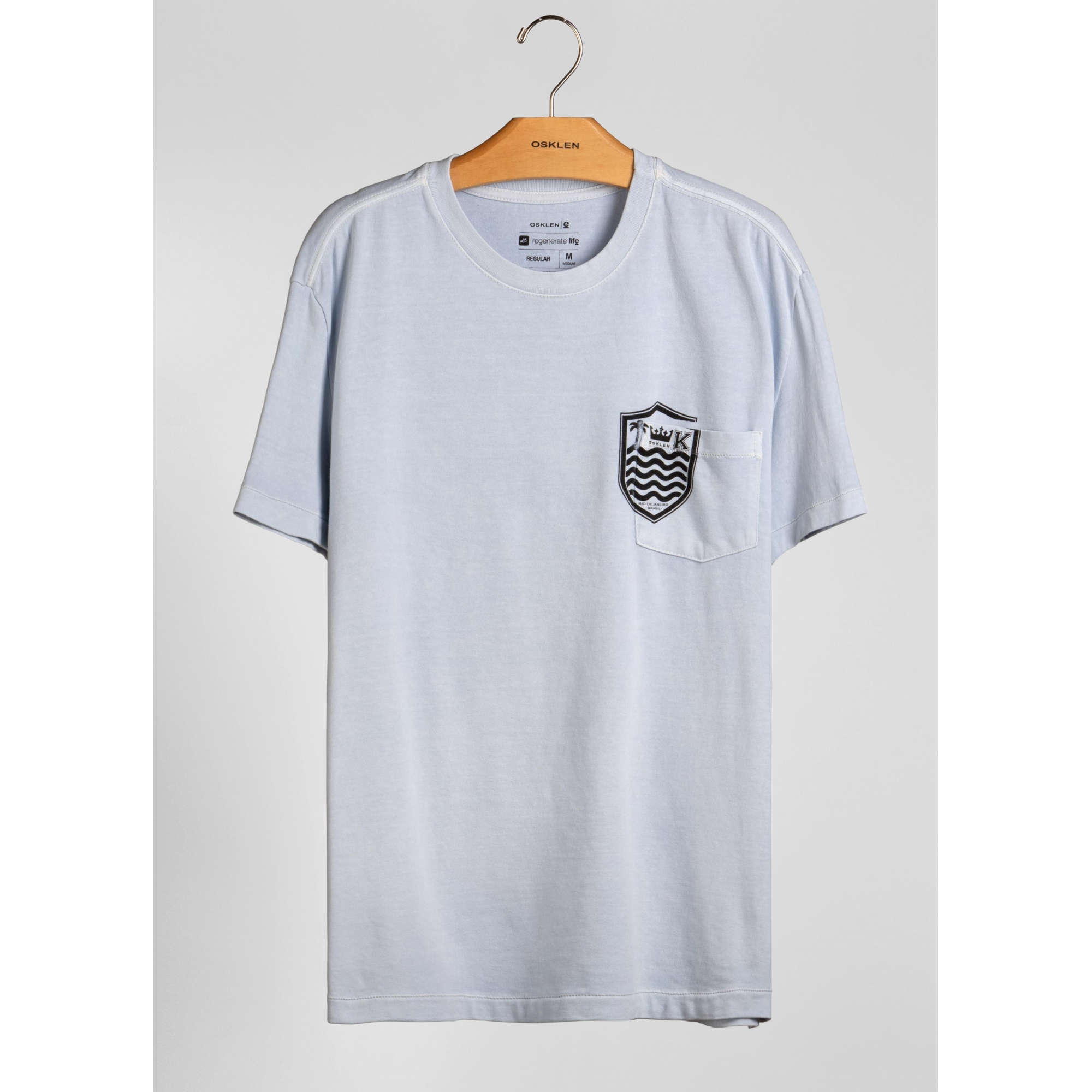 Osklen Camiseta Brasão Manga Curta Masculino Azul Claro