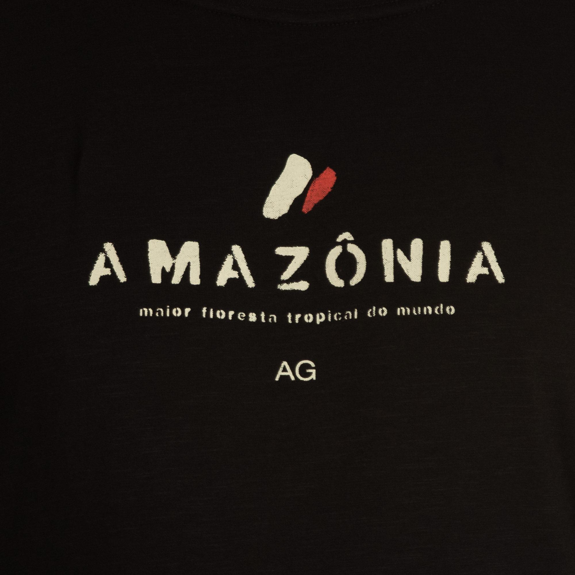 Osklen Camiseta Organic Rough Amazônia Manga Curta Masculino Preto
