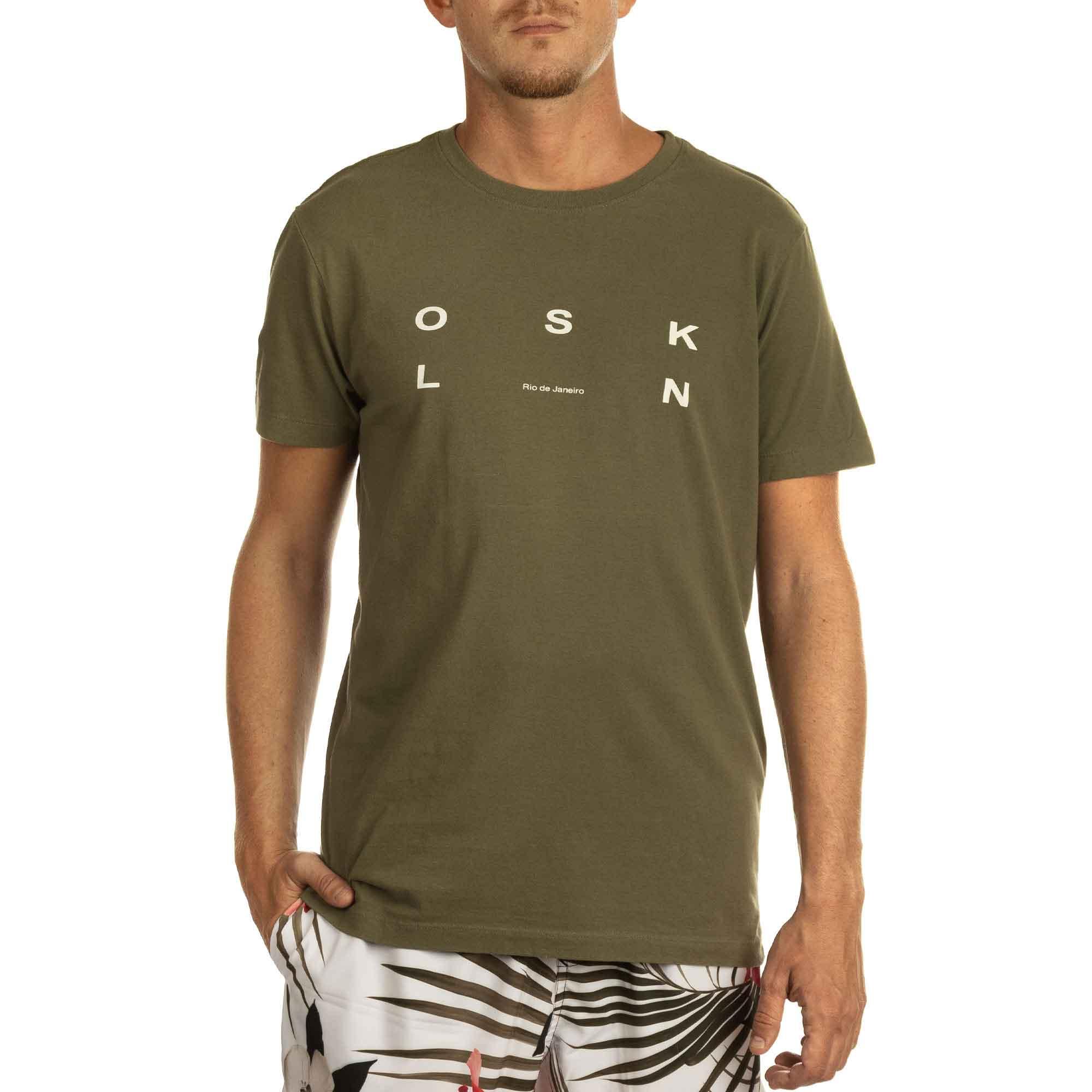 Osklen Camiseta Vintage Osk RJ Manga Curta Masculino Verde