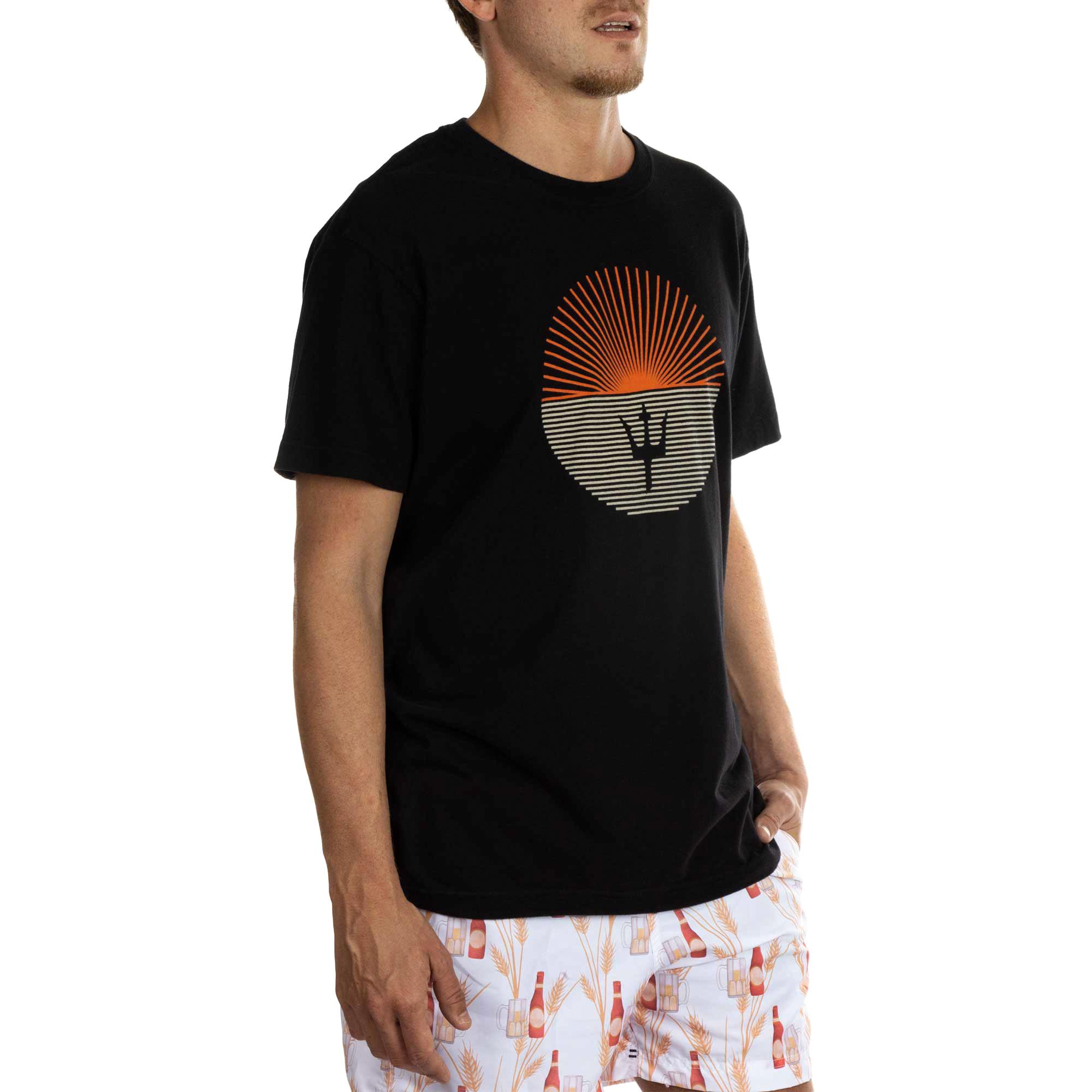 Osklen Camiseta Vintage Sun Listras Manga Curta Masculino Preto