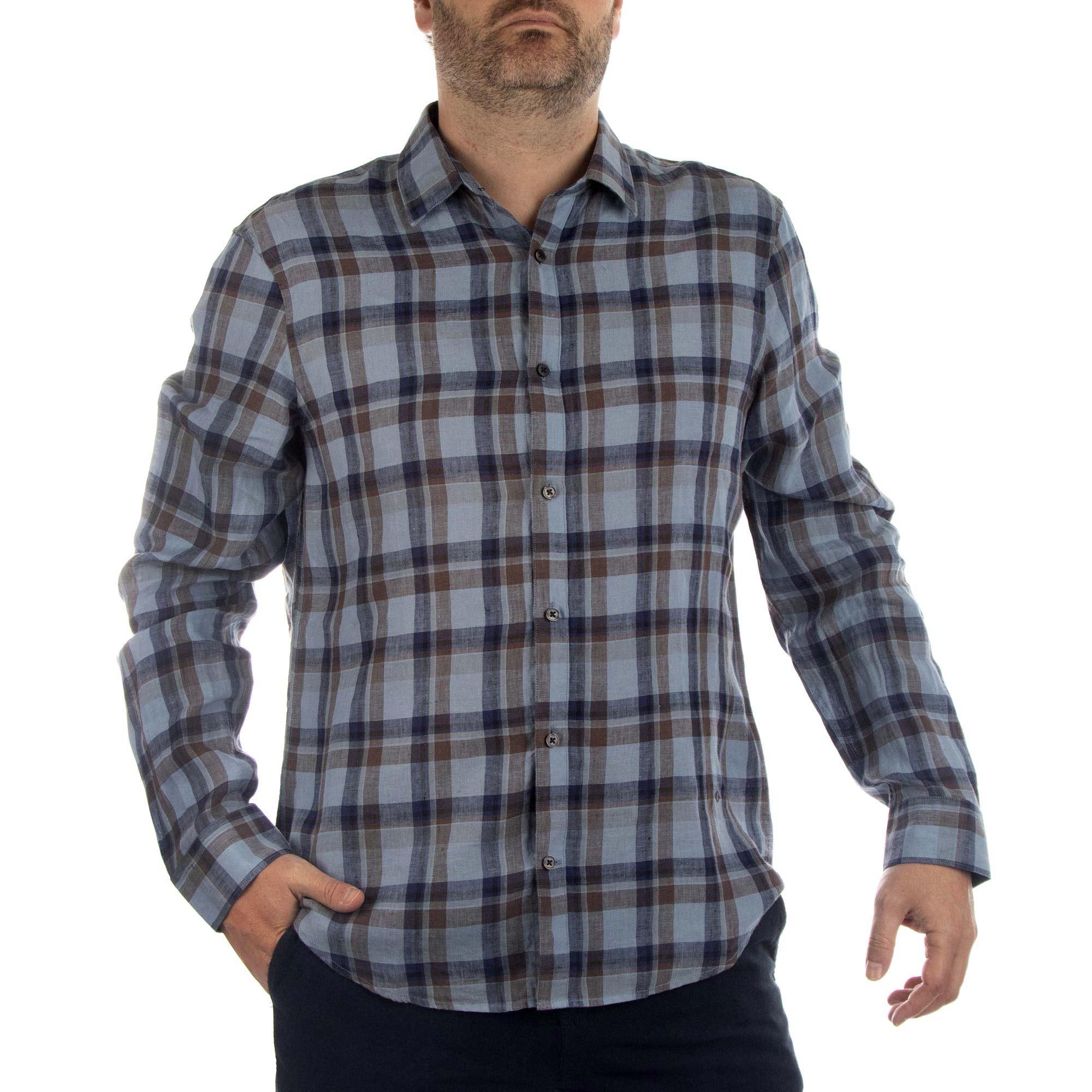 Richards Camisa Linho Xadrez Manga Longa Masculino Azul Claro