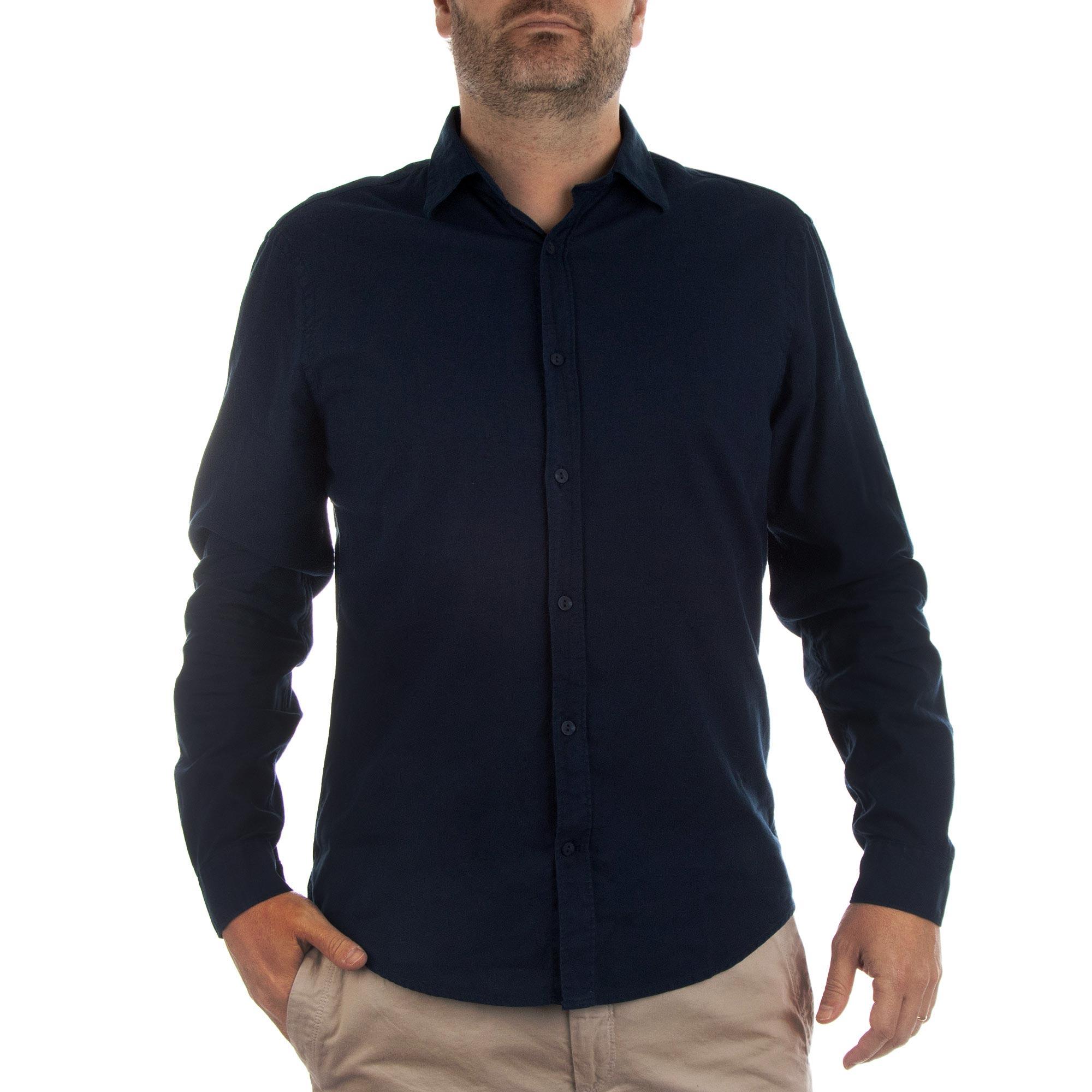 Richards Camisa Tinturada Linho Blend Manga Longa Masculino Marinho