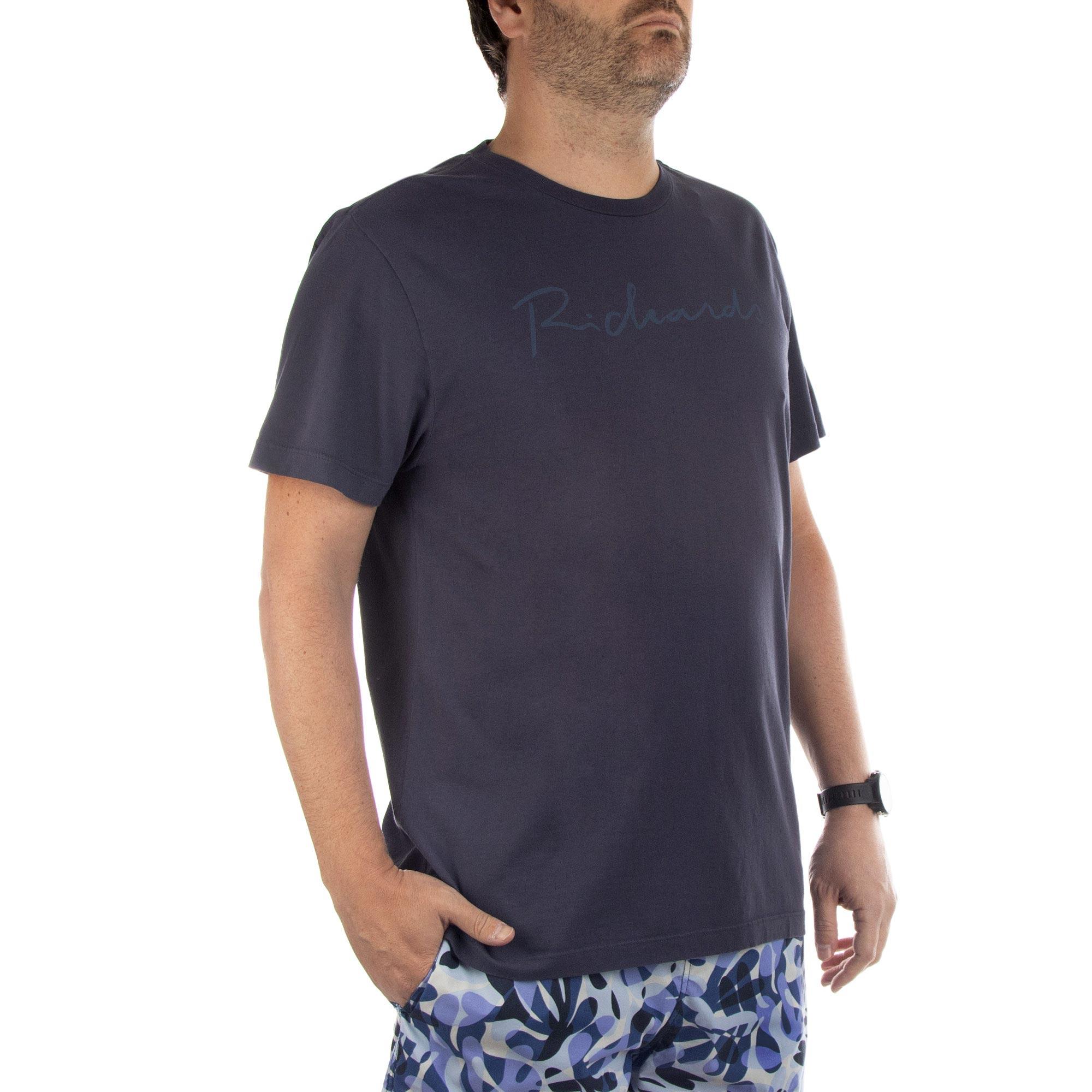 Richards Camiseta Manuscrito Richards Manga Curta Masculino Azul Marinho