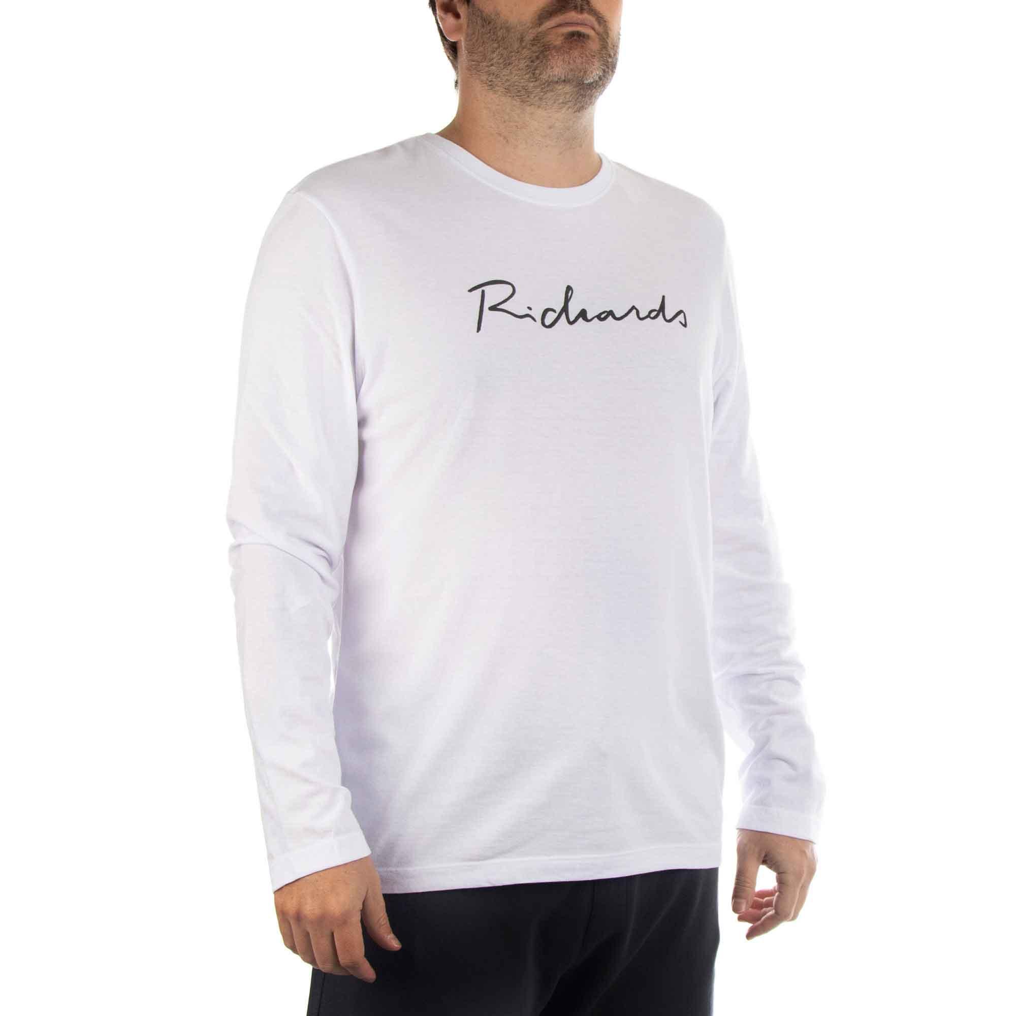 Richards Camiseta Manuscrito Richards Manga Longa Masculino Branco