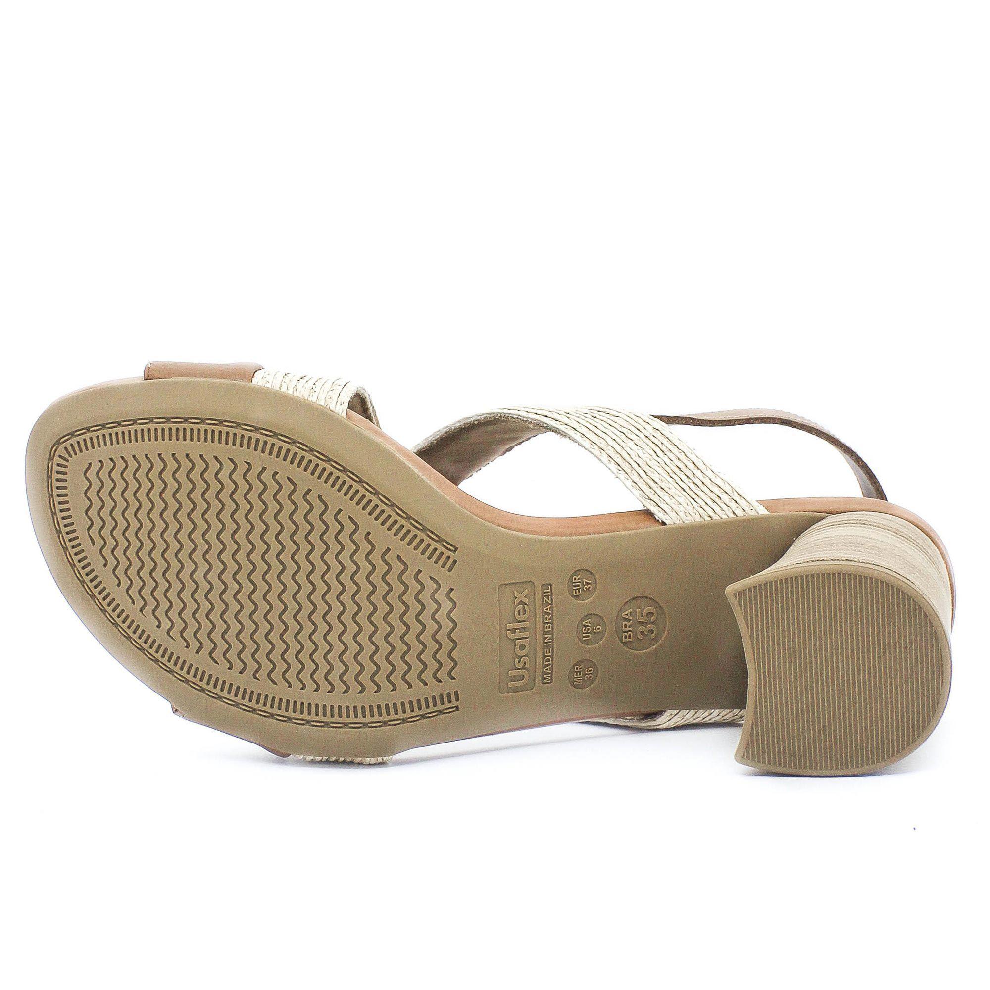 Usaflex Sandália Confort Trança Étnica Bege