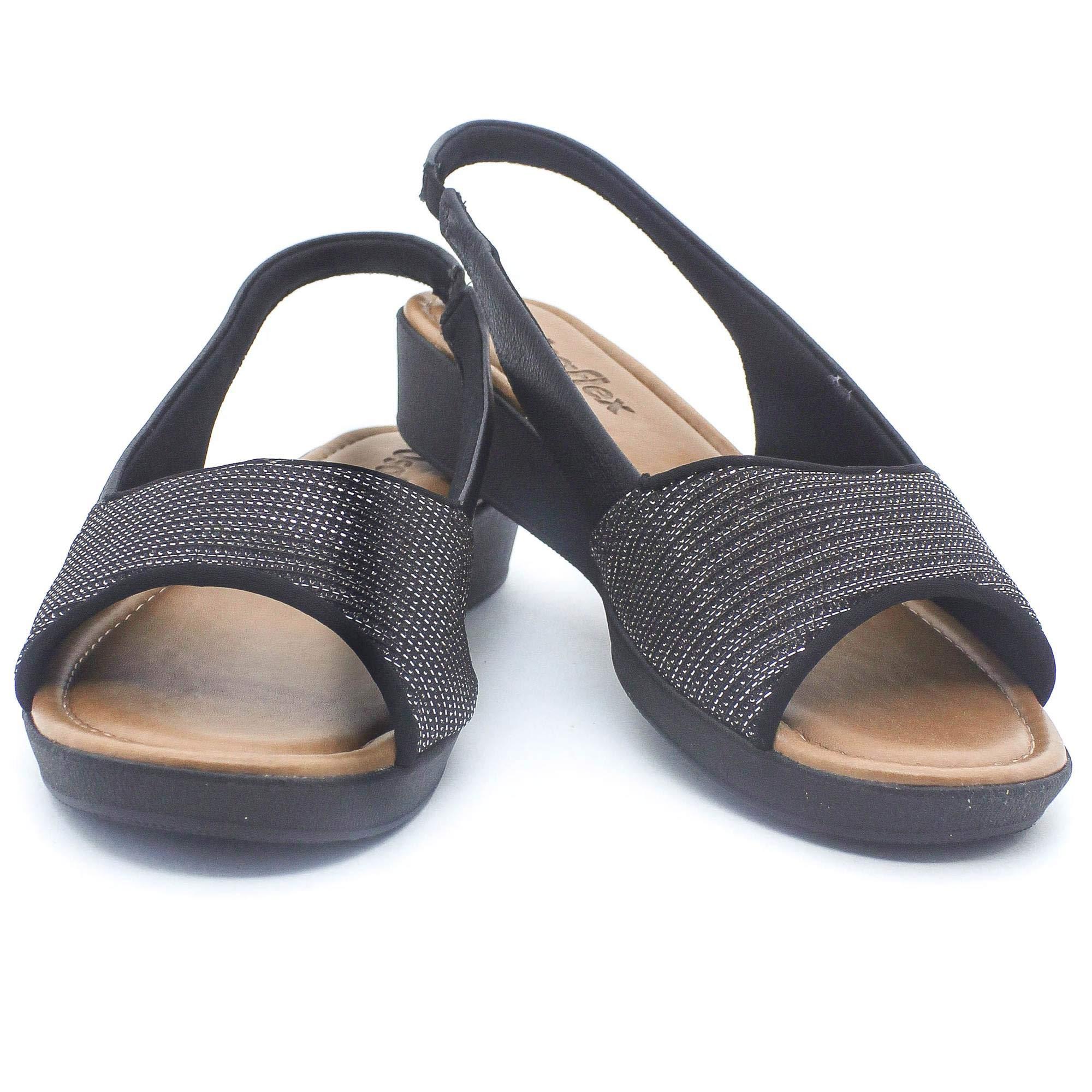 Sandália Usaflex Super Conforto Preto Coleção Verão 2019