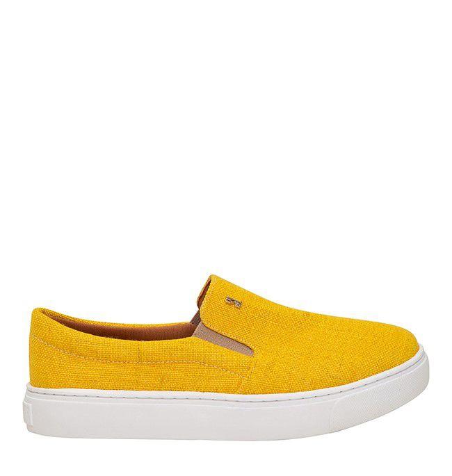 Santa Lolla Tênis Slip On Linho Amarelo