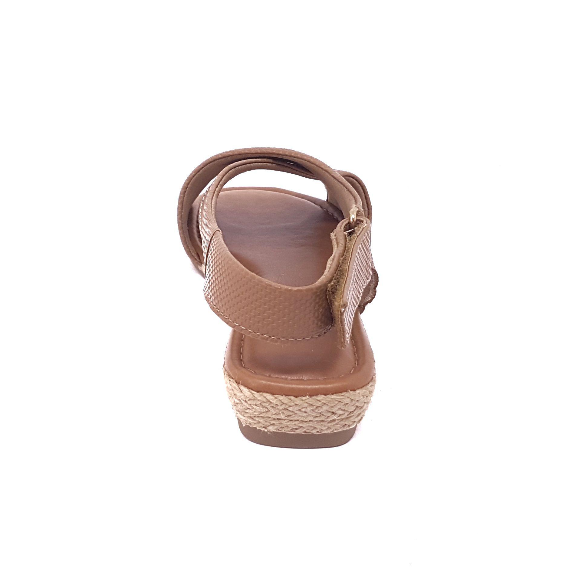 Usaflex Sandália Anabela Confort Aramado Camel
