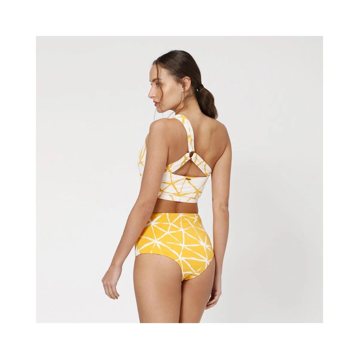 UV LINE Biquini Conjunto Estrela Feminino Amarelo Proteção Solar