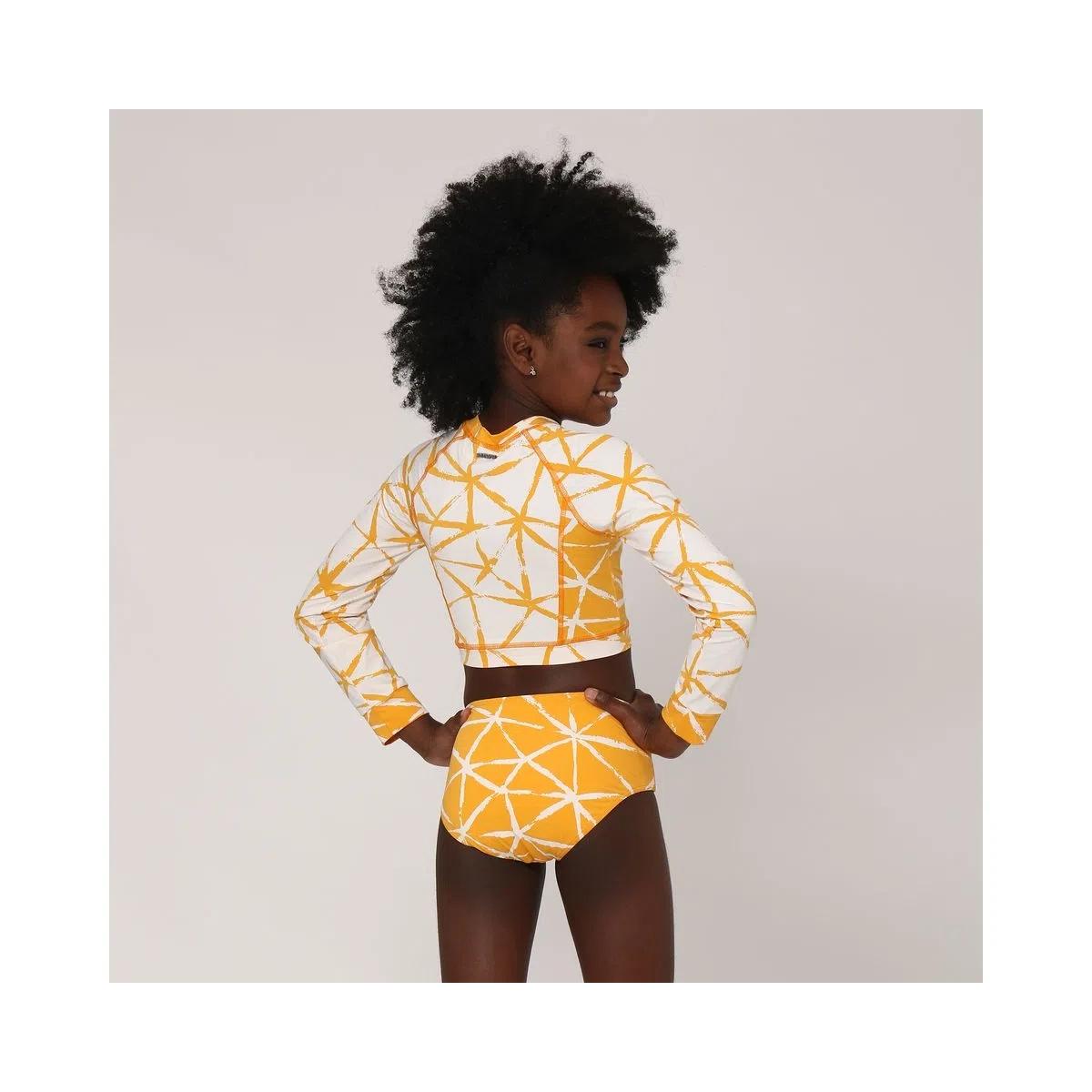UV LINE Biquini Hot Pant Estrela Manga Longa Infantil Amarelo Proteção Solar