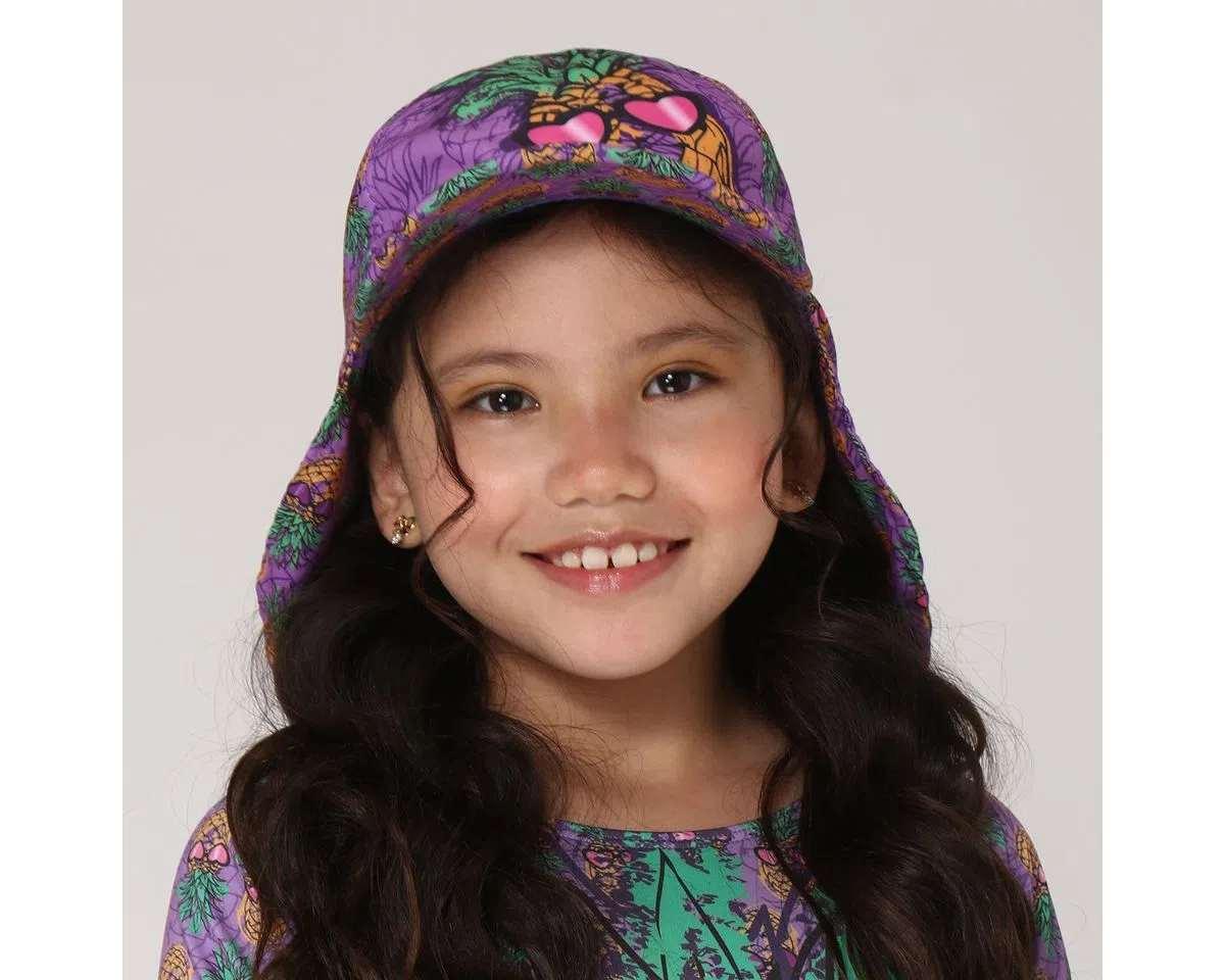 UV LINE Boné Legionário Girl Abacaxi Infantil Rosa Fucsia Proteção Solar