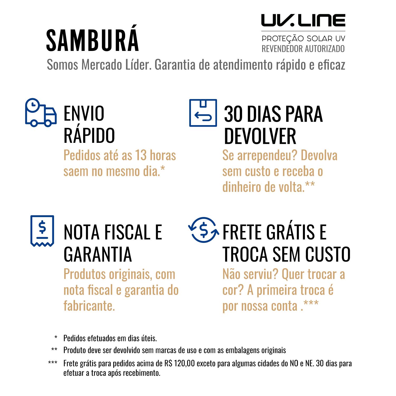 UV LINE Calcinha Biquini Midi Listras Feminino Marinho/Branco Proteção Solar