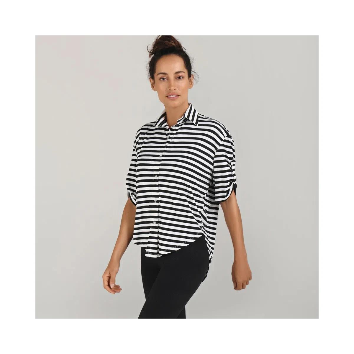 UV LINE Camisa Bola Listrada Manga Curta Feminino Branco/Preto Proteção Solar