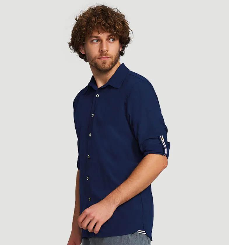 UV LINE Camisa Georgia Masculino Manga Longa Marinho Proteção Solar