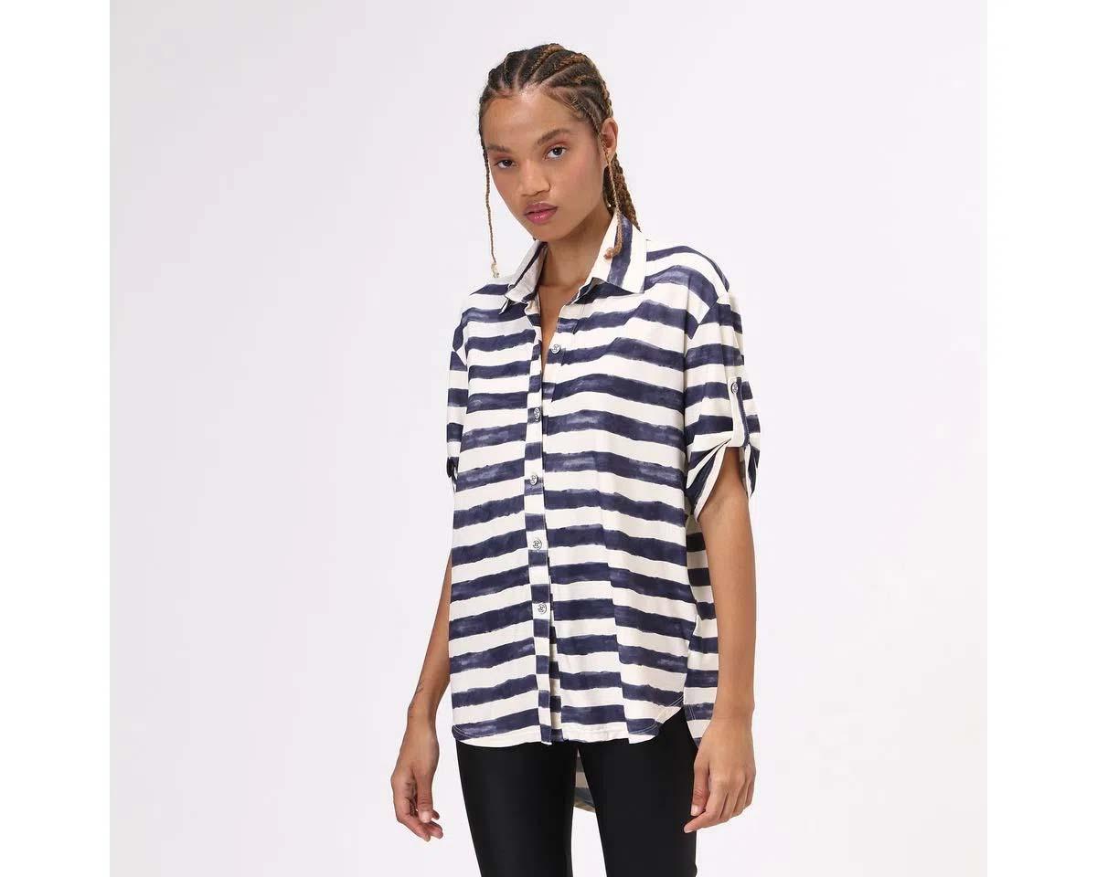 UV LINE Camisa Listras Manga Curta Feminino Off White/Preto Proteção Solar