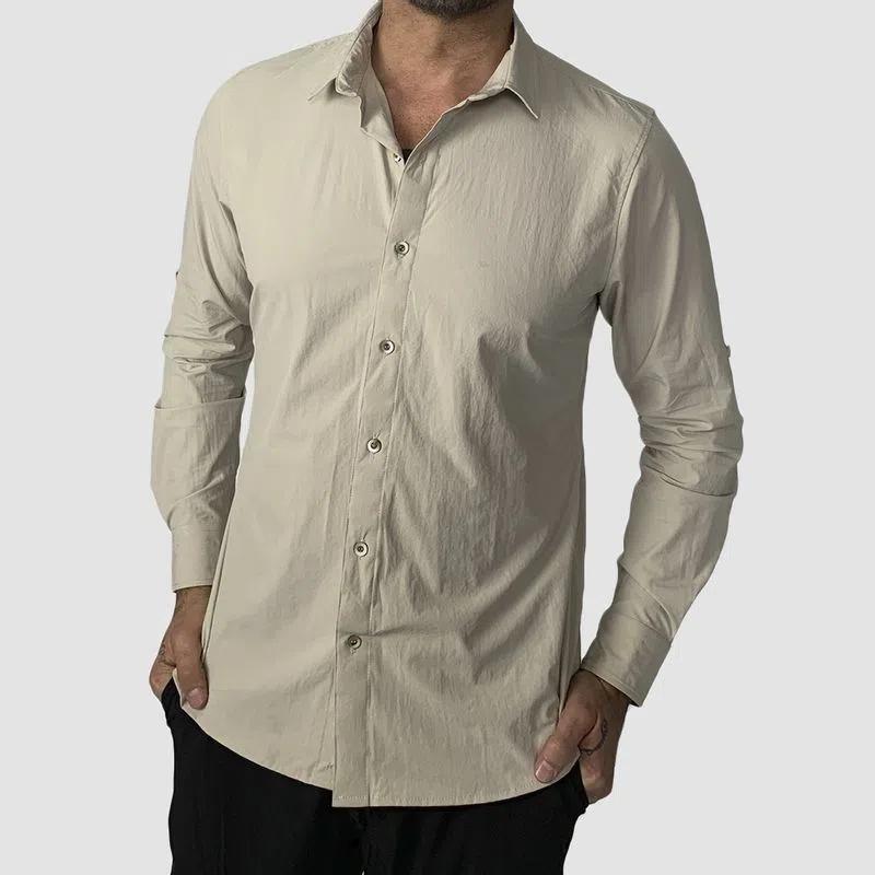 UV LINE Camisa Nepal Manga Curta Masculino Areia Proteção Solar