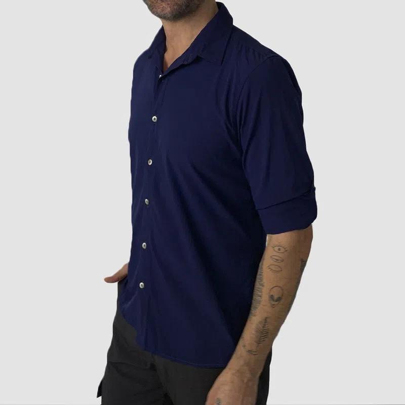 UV LINE Camisa Nepal Manga Curta Masculino Marinho Proteção Solar