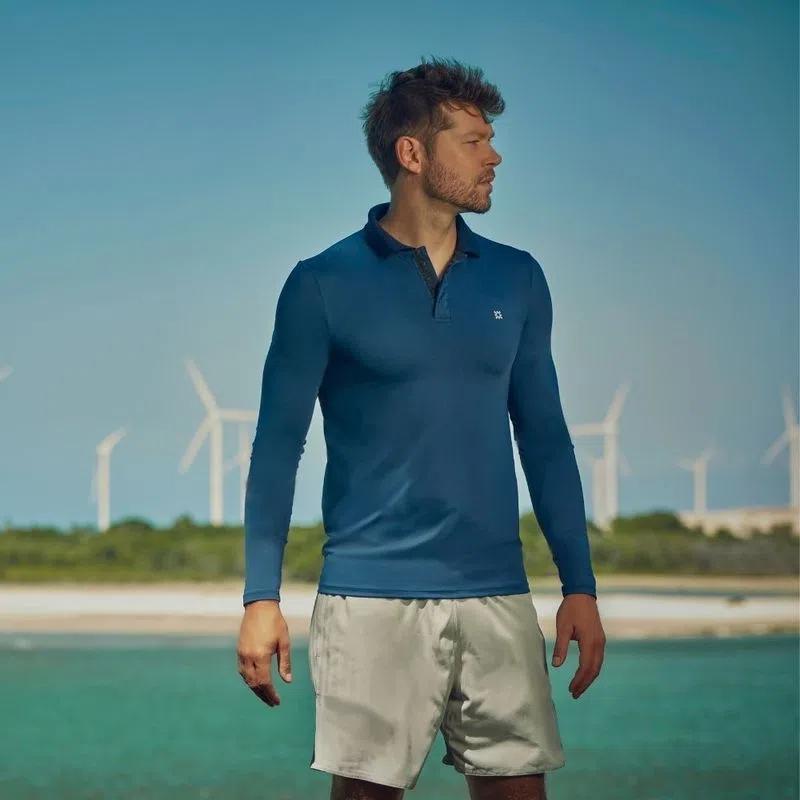 UV LINE Camisa Nepal Manga Longa Masculino Marinho Proteção Solar