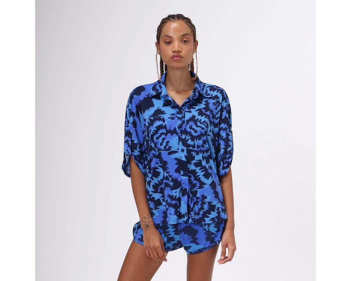 UV LINE Camisa Oceano Manga Curta Feminino Marinho Proteção Solar