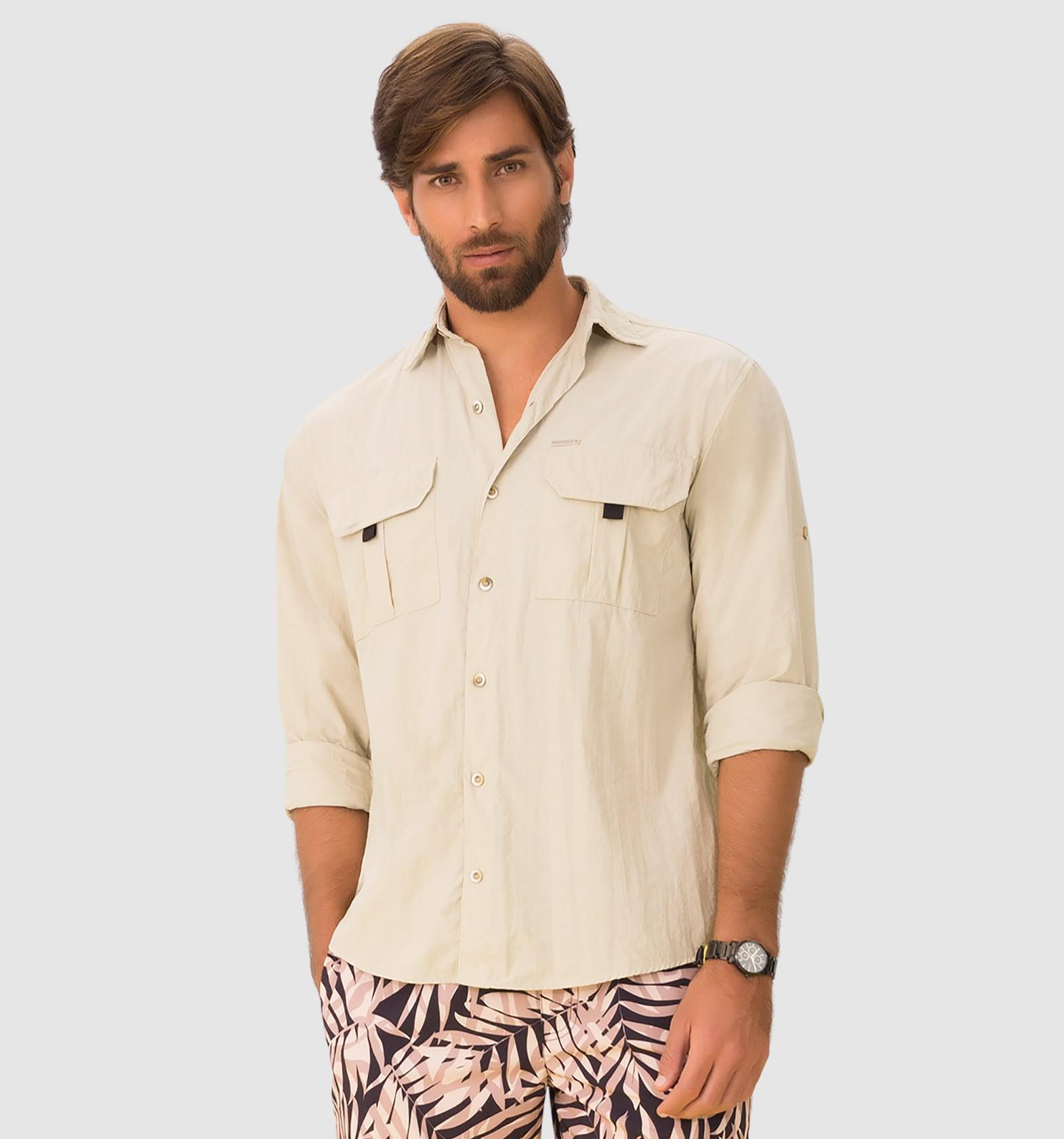 UV LINE Camisa Tenerife ML Masculino Areia Proteção Solar