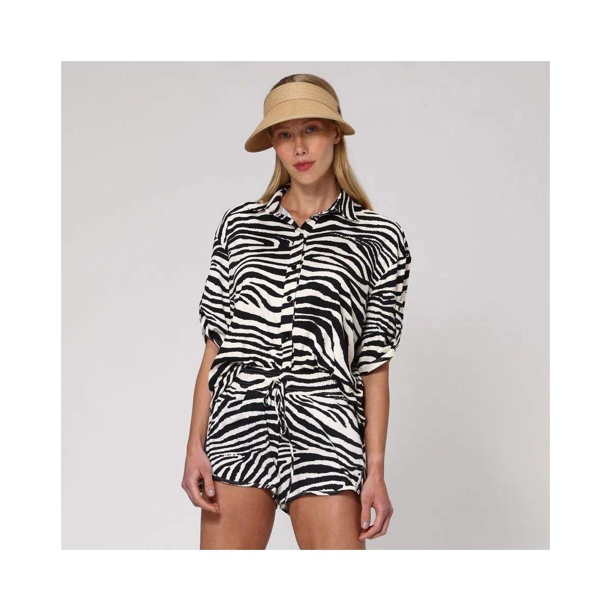 UV LINE Camisa Zebra Feminina Manga Curta Branco/Preto Proteção Solar
