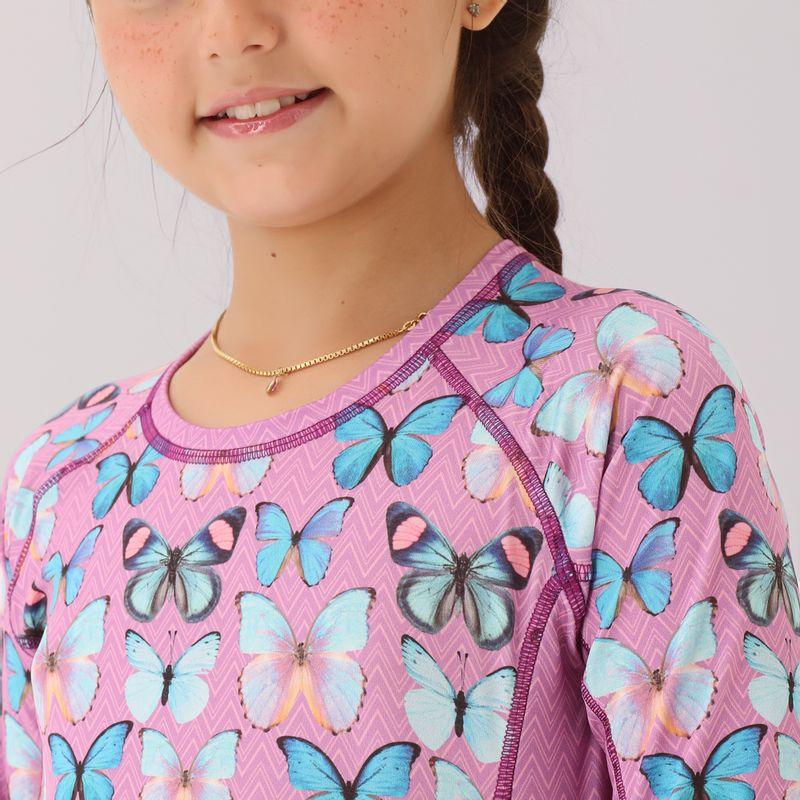UV LINE Camiseta Acqua Borboleta Manga Longa Infantil Rose Proteção Solar