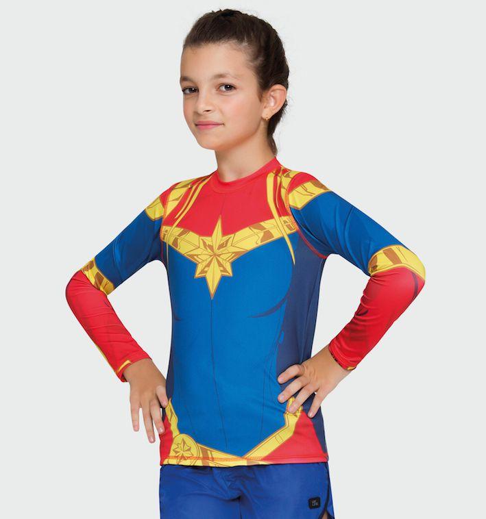 UV LINE Camiseta Acqua Capitã Marvel Manga Longa Infantil Proteção Solar