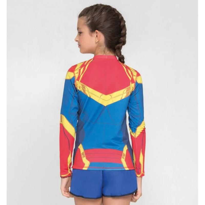 UV LINE Camiseta Acqua Capitã Marvel Manga Longa Infantil Azul Proteção Solar