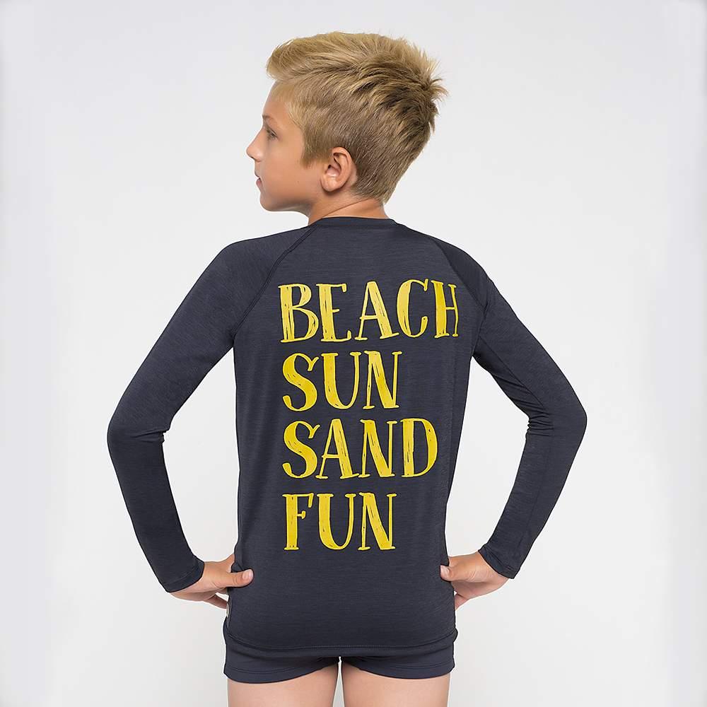 UV LINE Camiseta Acqua Fun Manga Longa Infantil Preto Proteção Solar
