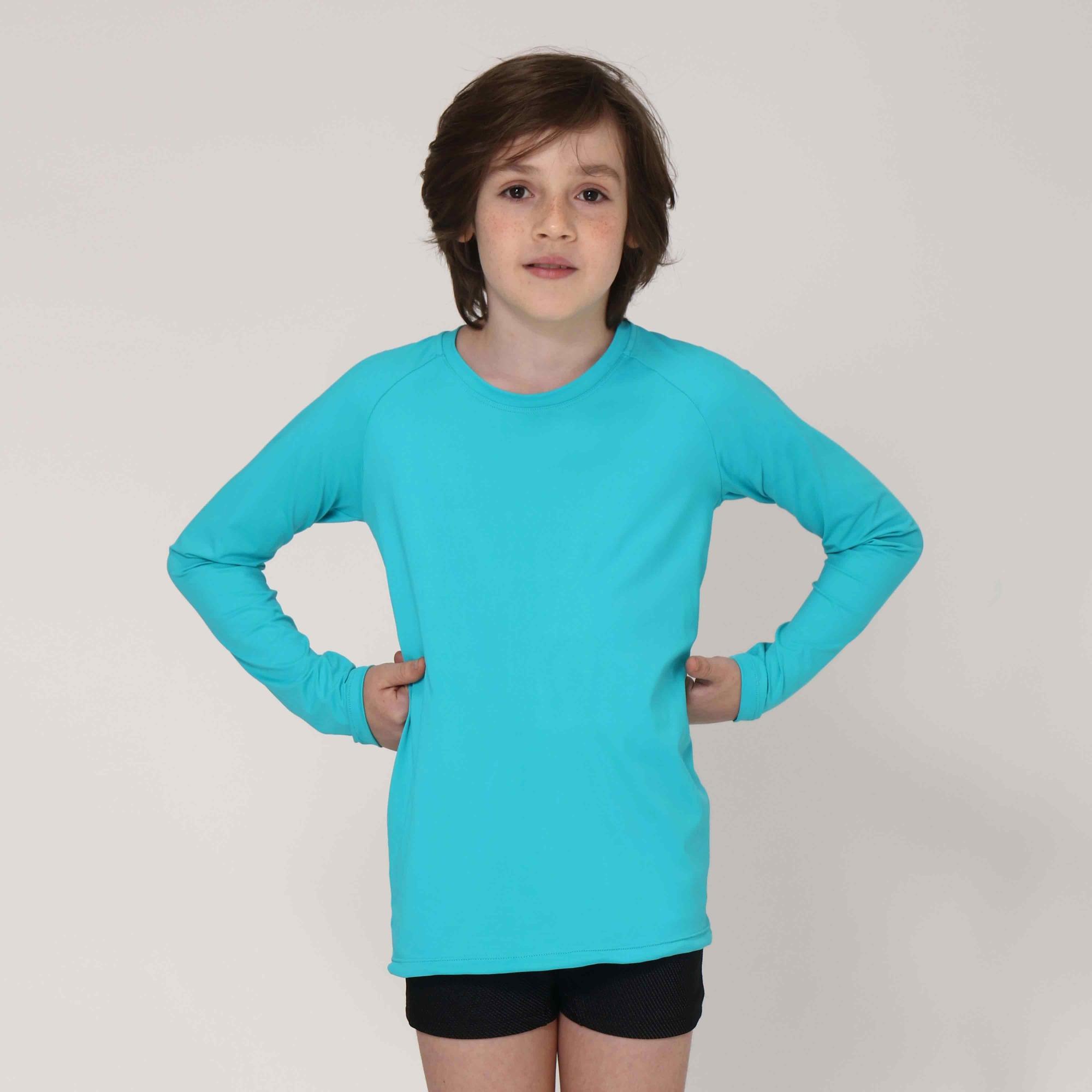 UV LINE Camiseta Acqua Prancha Manga Longa Infantil Turquesa Proteção Solar