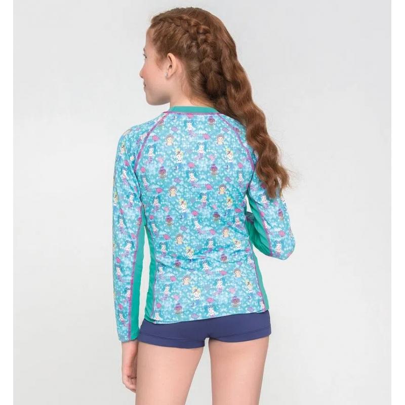UV LINE Camiseta Acqua Sereia Manga Longa Infantil Verde Mar Proteção Solar