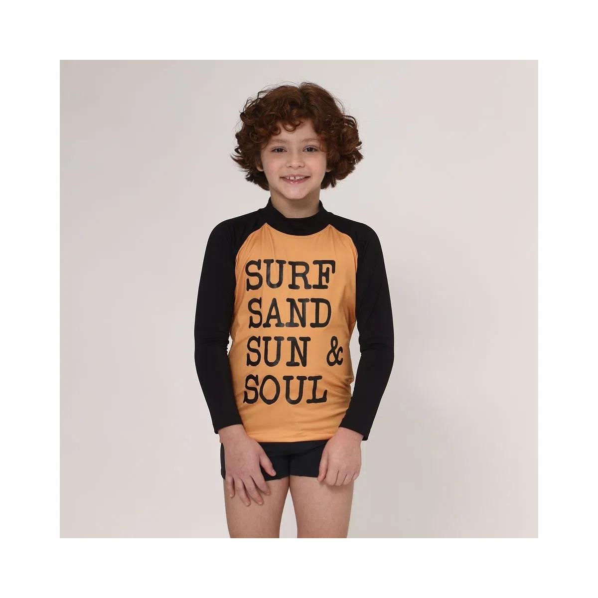 UV LINE Camiseta Acqua Surf Manga Longa Infantil Amarelo Queimado Proteção Solar