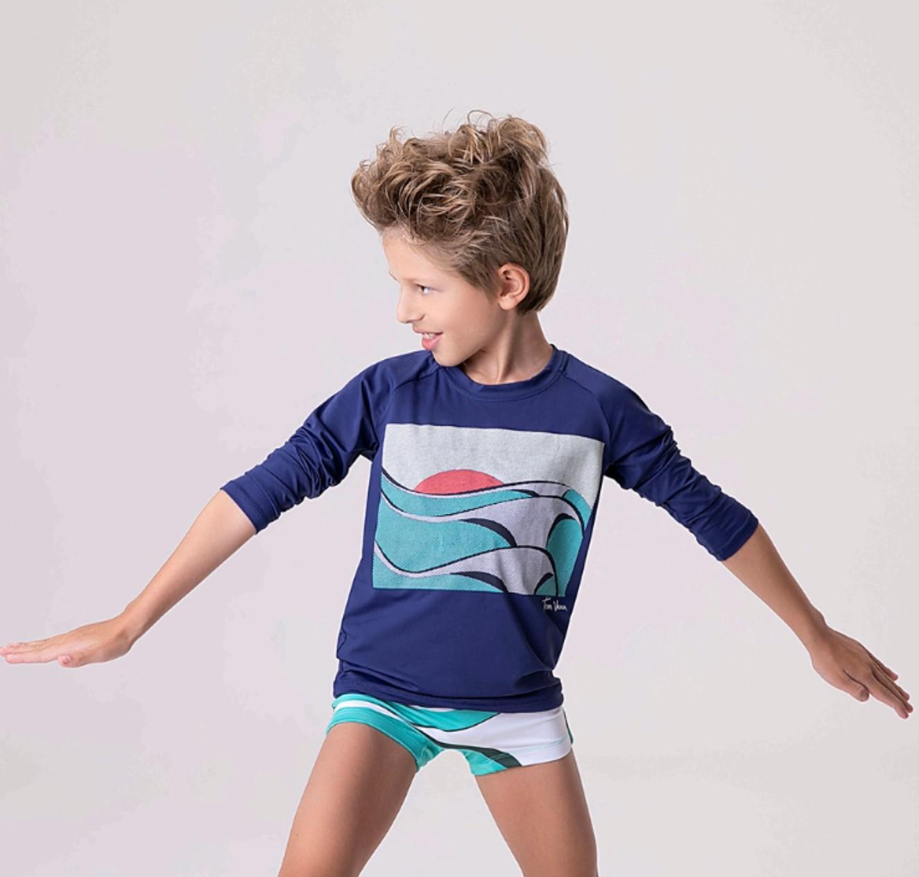 UV LINE Camiseta Acqua Tom Big Swell Manga Longa Infantil Marinho Proteção Solar