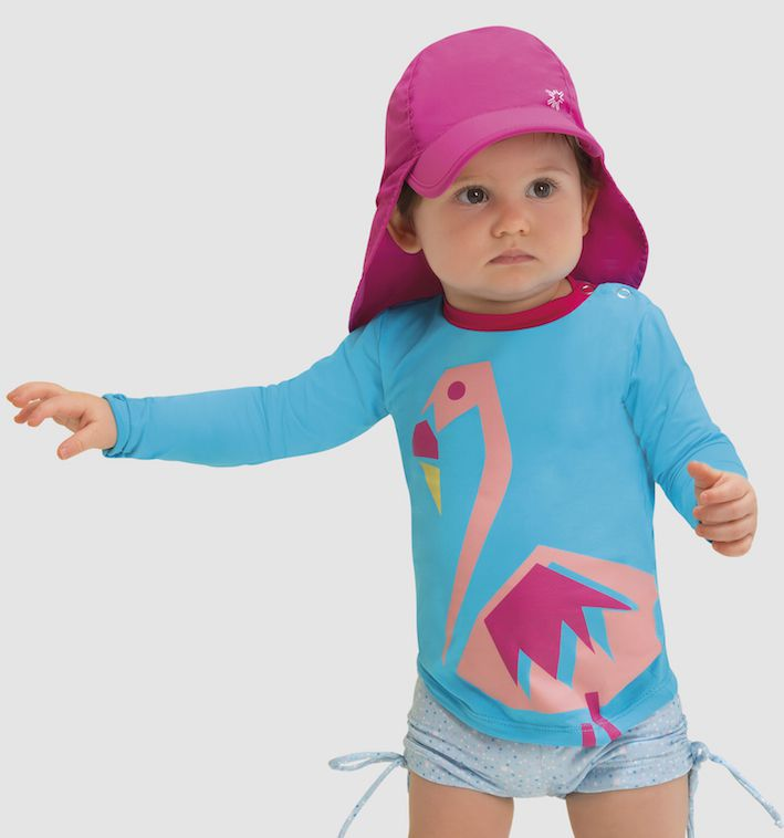 UV LINE Camiseta Baby Flamingo Manga Longa Turquesa Proteção Solar