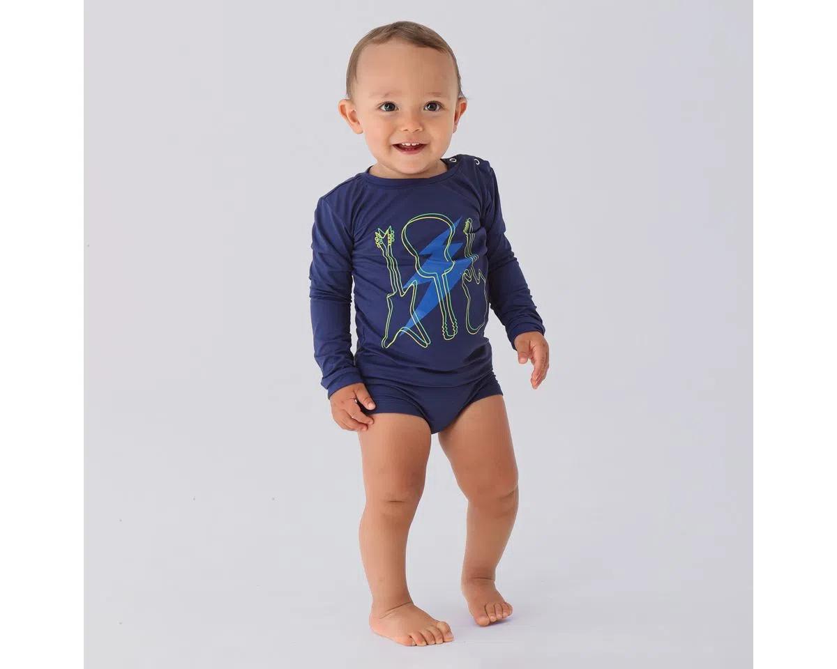 UV LINE Camiseta Baby Guitarra Manga Longa Infantil Azul Marinho Proteção Solar