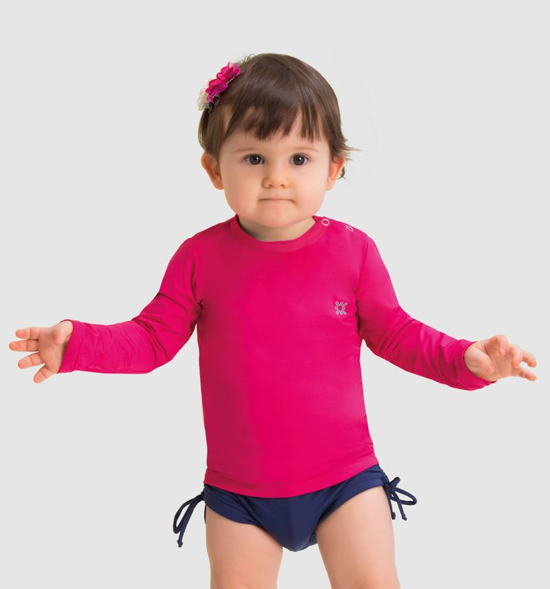 UV LINE Camiseta Baby Nina Manga Longa Infantil Pink Proteção Solar