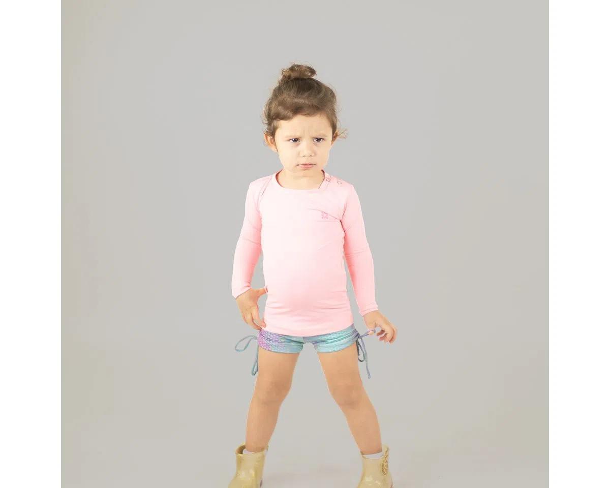 UV LINE Camiseta Baby Nina Manga Longa Infantil Rosa Claro Proteção Solar