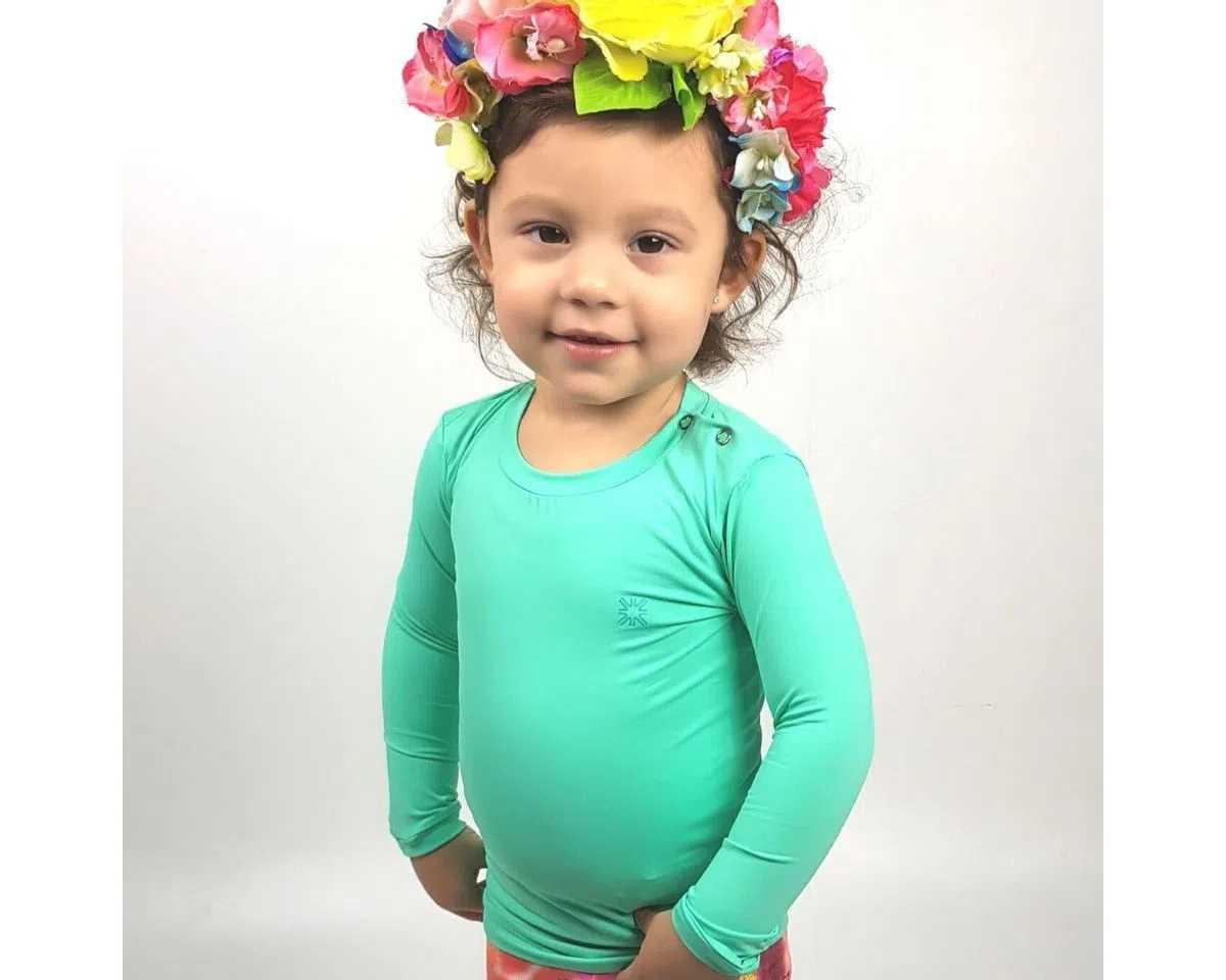 UV LINE Camiseta Baby Nina Manga Longa Infantil Verde Claro Proteção Solar
