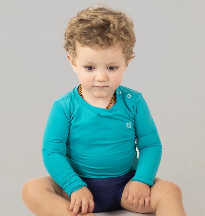 UV LINE Camiseta Baby Nina Manga Longa Infantil Verde Mar Proteção Solar