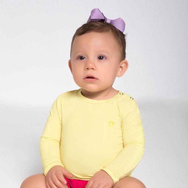 UV LINE Camiseta Baby Nino Infantil Manga Longa Amarelo Claro Proteção Solar