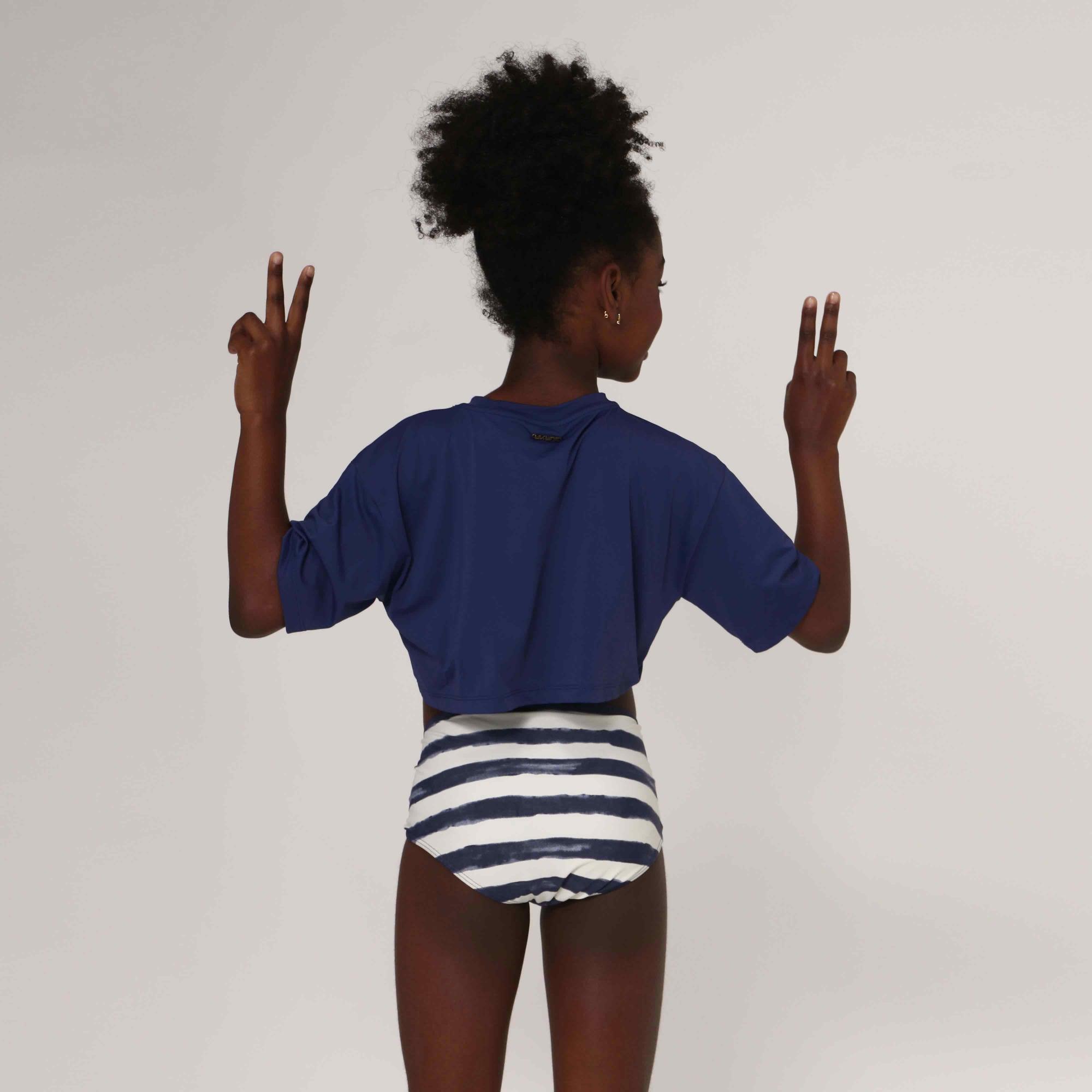 UV LINE Camiseta Cropped Manga Curta Infantil Marinho Proteção Solar
